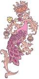 Pavo real rosado ilustración del vector