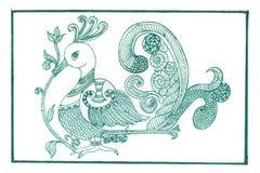 Pavo real verde Madhubani Imágenes de archivo libres de regalías