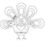 Pavo resumido de la historieta Concepto feliz del día de la acción de gracias Embroma el libro de colorear ilustración del vector