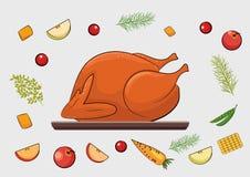 Pavo y verdura asados para la acción de gracias libre illustration