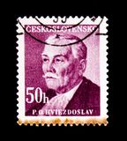Pavol Orszagh Hviezdoslav, poet, dramatist, translator, circa 1949. MOSCOW, RUSSIA - JUNE 20, 2017: A stamp printed in Czechoslovakia shows Pavol Orszagh Royalty Free Stock Image