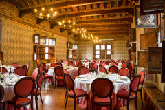 Pavone Canavese Castle, 28 May 2016. Table set for an event part Stock Photography