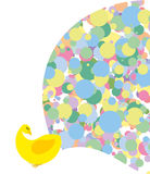 Pavone con la coda luminosa colorata Uccello esotico stilizzato Immagine Stock