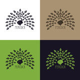 Pavone dell'illustrazione, insieme di progettazione di logo Vector il logo astratto del pavone colorato dell'uccello con la coron Immagini Stock Libere da Diritti
