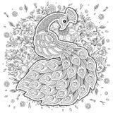 Pavone nello stile dello zentangle Pagina antistress adulta di coloritura Immagini Stock Libere da Diritti