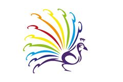 Pavone variopinto isolato su fondo bianco Pavone con la coda variopinta royalty illustrazione gratis