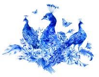 Pavos reales azules del vintage con las rosas de la acuarela Imágenes de archivo libres de regalías