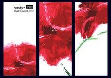 Pavot rouge, peinture à l'huile Fond de vecteur Photo libre de droits
