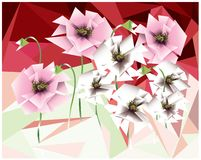 Pavots de rose et blancs de cubisme illustration stock