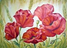 Pavots, peinture à l'huile sur la toile Photo libre de droits