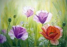 Pavots, peinture à l'huile sur la toile Photos libres de droits