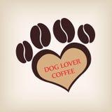 Paw dog logo coffee shop vector. Royalty Free Stock Photo