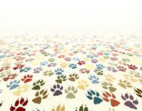 Paw floor. Editable vector illustration of dog paw prints Royalty Free Stock Photography