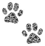 Paw Footprints Collage of Triangles. Paw footprints collage of triangle items in variable sizes and shapes. Vector polygons are combined into paw footprints Royalty Free Stock Image