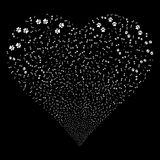 Paw Footprints Fireworks Heart. Paw Footprints fireworks with heart shape. Raster illustration style is flat white iconic symbols on a black background. Object Stock Images