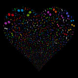 Paw Footprints Fireworks Heart Royalty Free Stock Photo