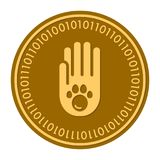 Paw Footprints golden digital coin icon. Vector style. gold yellow flat coin cryptocurrency symbol. solated on white. Eps 10 Stock Photo