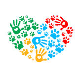Paw in hands. Dog paw print made of colorful heart vector Stock Image
