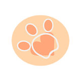 The paw has three fingers and heart. The paw has three fingers and a heart on white background, abstract vector illustration Royalty Free Stock Image