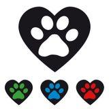 Paw With Heart animal - ilustração do vetor Imagem de Stock Royalty Free