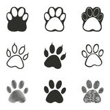 Paw icon set. Paw vector icons set. Black illustration isolated on white background for graphic and web design stock illustration