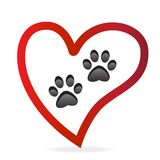 Paw pet inside of love heart logo vector icon.Paw prints pair vector illustration