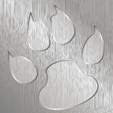 Paw Print. Illustration of cat paw on a metal plate engraved Stock Photos