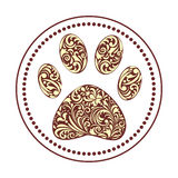 Paw print. Vector illustration of floral animal paw print on white background Royalty Free Stock Images