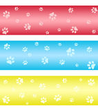 Paw print banners Royalty Free Stock Photos