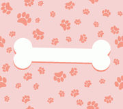 Paw print and bone. vector background footprints stock illustration