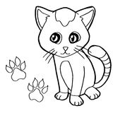 Paw print with cat Coloring Page vector Royalty Free Stock Images
