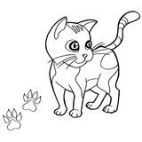 Paw print with cat Coloring Pages vector Royalty Free Stock Photo
