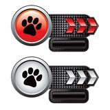 Paw print on checkered red and white arrows Royalty Free Stock Photos