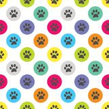 Paw Print in de Illustratie van Dot Retro Seamless Pattern Vector van de Cirkelpolka Stock Afbeelding