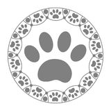 Decorative ring with paw print dog. royalty free stock photos