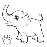 Paw print with elephant Coloring Page vector Stock Image