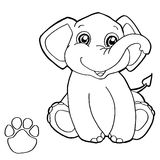 Paw print with elephant Coloring Page vector Royalty Free Stock Image