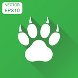 Paw print icon. Business concept dog, cat, bear paw symbol picto. Gram. Vector illustration on green background with long shadow Stock Image