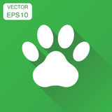 Paw print icon. Business concept dog, cat, bear paw symbol picto. Gram. Vector illustration on green background with long shadow Stock Photo