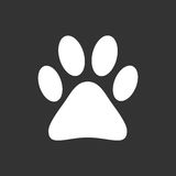 Paw print icon vector illustration isolated on black background. Royalty Free Stock Image