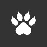 Paw print icon vector illustration isolated on black background. Royalty Free Stock Photos