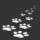 Paw print icon vector illustration isolated on black background. Stock Images
