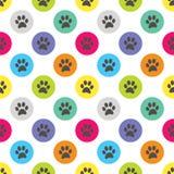 Paw Print in Kreis-Polka-Dot Retro Seamless Pattern Vector-Illustration stockbild