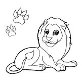 Paw print with Lion Coloring Pages vector Stock Photo