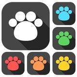 Paw Print With Long Shadow icons set Royalty Free Stock Image
