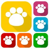 Paw Print With Long Shadow icons set Stock Image