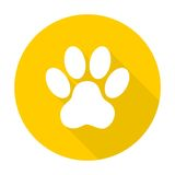 Paw Print With Long Shadow - Illustration Royalty Free Stock Photos