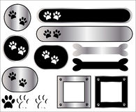 Paw Print Metal Icons Royalty Free Stock Photos