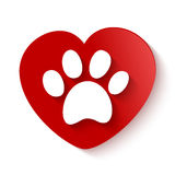 Paw print over heart shape Stock Photography