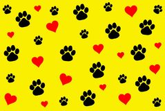 Paw print pattern background. Illustration design. Paw print pattern background illustration design pet puppy new heart red colors creative concept walk mark royalty free stock photo